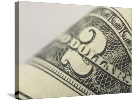 Close-Up of Number and Text on Two Dollar Bill--Stretched Canvas Print