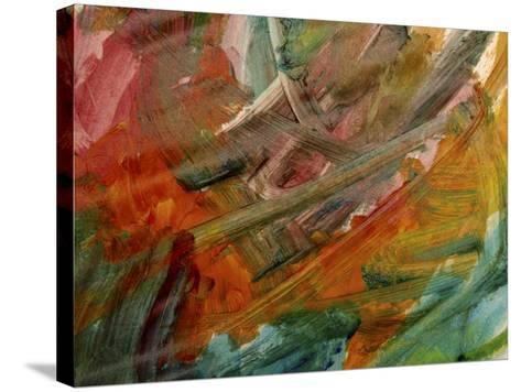 Brush Strokes on Abstractly Painted Background--Stretched Canvas Print