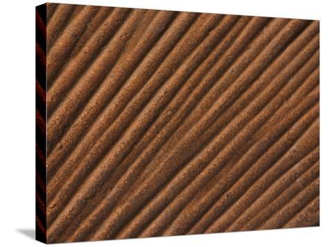 Close-Up of Grooved Pattern and Texture in Wood--Stretched Canvas Print