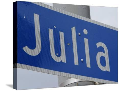 Close-Up of Blue Julia Street Sign from New Orleans, Louisiana--Stretched Canvas Print