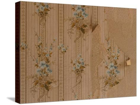 Close-Up of Old Peeling Wallpaper with Floral Pattern--Stretched Canvas Print