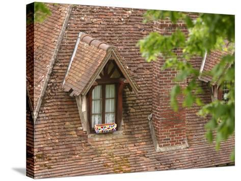 Exterior of Brick Building with Window and Shingles on Rooftop--Stretched Canvas Print