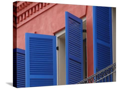 Open Blue Window Shutters on Ornate Building in New Orleans, Louisiana--Stretched Canvas Print