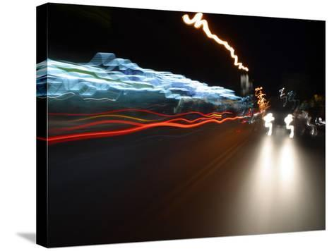 Light Streaks from Car Headlights at Night--Stretched Canvas Print