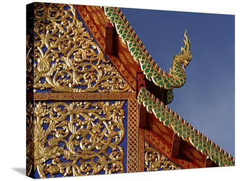Ornamental Architectural Details on the Exterior of a Pagoda, Thailand--Stretched Canvas Print