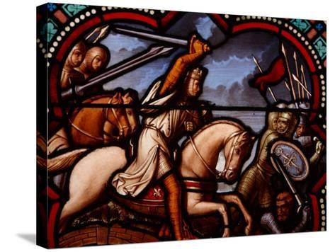 Stained Glass Window in Church in France Depicting Battle Scene with Knight on Horseback--Stretched Canvas Print