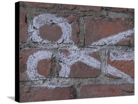 Painting of Scissors on Rustic Brick Wall--Stretched Canvas Print