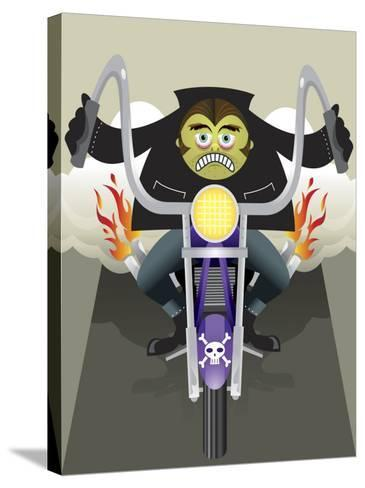 Demon Riding Motorcycle with Flaming Exhaust--Stretched Canvas Print