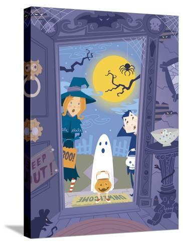 Three Trick-Or-Treaters at Scary House--Stretched Canvas Print