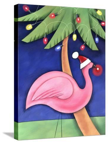 Flamingo Lawn Ornament and Christmas Lights in Palm Trees--Stretched Canvas Print