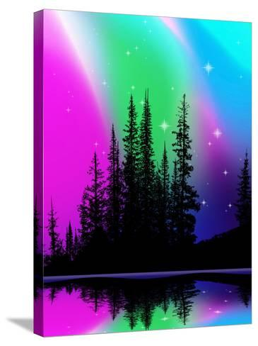 Northern Lights over Alpine Lake--Stretched Canvas Print