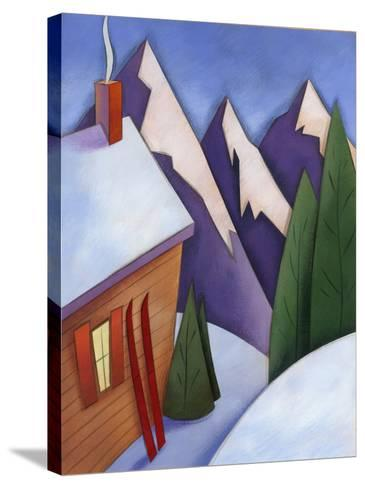 Winter Snow around Ski Lodge--Stretched Canvas Print