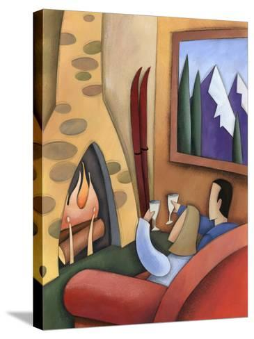 Couple Drinking Wine Together at Ski Lodge--Stretched Canvas Print