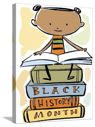 Book Reading Atop Books During Black History Month--Stretched Canvas Print