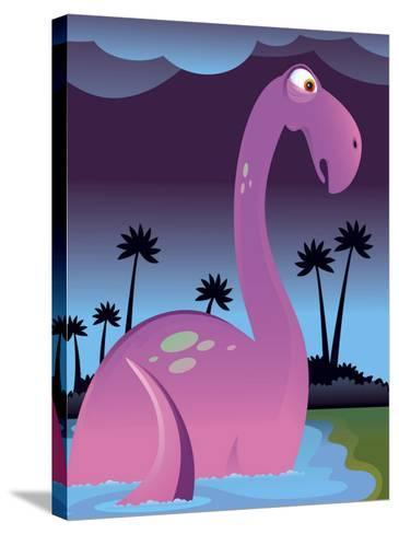 Purple Dinosaur in Lake--Stretched Canvas Print