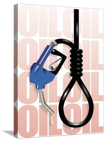 Gas Pump Nozzle and Hose Tied in Noose--Stretched Canvas Print