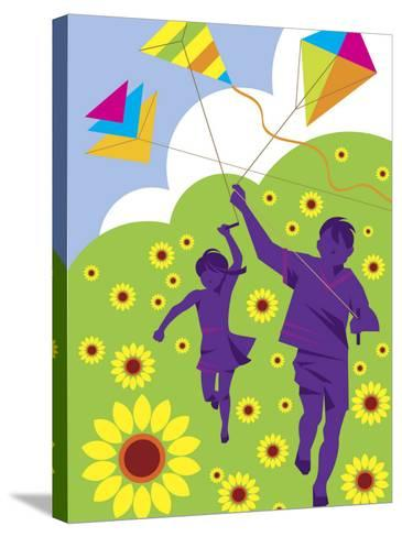 Boy and Girl Running with Kites in Country Field--Stretched Canvas Print