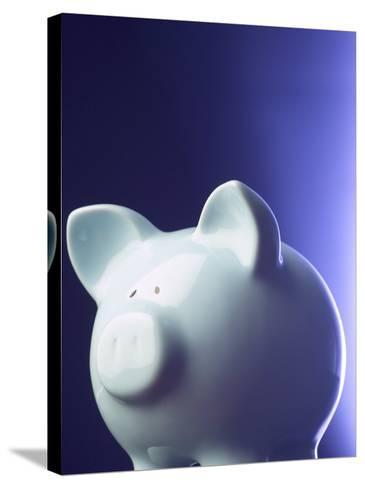 Studio Shot of Blue Porcelain Piggy Bank for Savings--Stretched Canvas Print