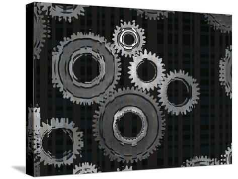 Striped Silver Metal Assembly Gears of Various Sizes--Stretched Canvas Print
