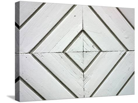 White Weathered Wooden Diamond Pattern--Stretched Canvas Print