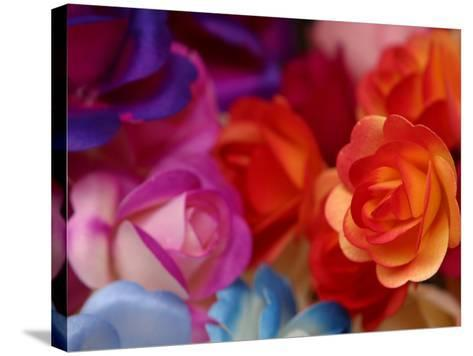 Vibrant and Colorful Arrangement of Beautiful Silk Roses--Stretched Canvas Print