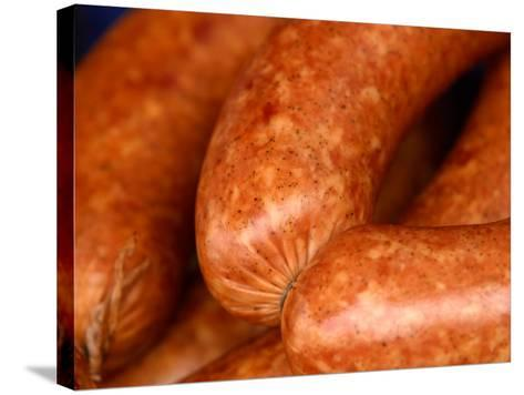 Close-Up of Sausages Linked Together--Stretched Canvas Print