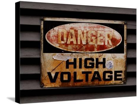 Weathered and Rusted Metal High Voltage Danger Sign--Stretched Canvas Print