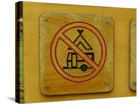 Wooden Camping Prohibited Sign--Stretched Canvas Print