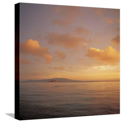 Beautiful and Peaceful Sunset over a Sea--Stretched Canvas Print