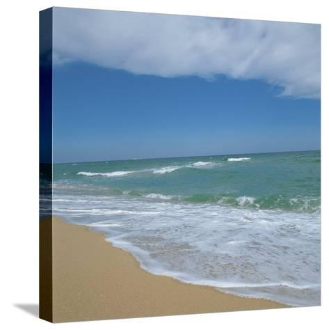 Waves Lapping Up onto Sandy Beach--Stretched Canvas Print