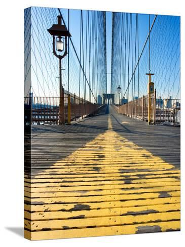 Historical Landmark of Brooklyn Bridge in New York City, New York--Stretched Canvas Print