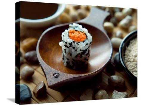 Traditional Sushi Roll in Wooden Dish--Stretched Canvas Print