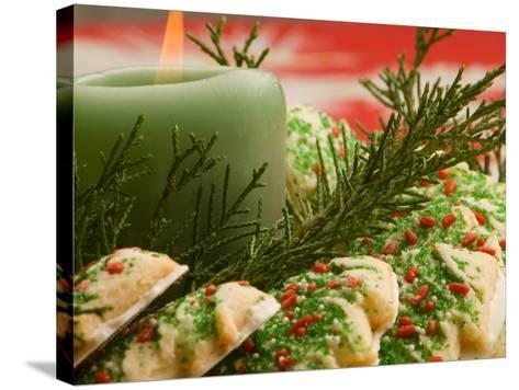 Tray of Decorative Christmas Cookies and Holiday Candle--Stretched Canvas Print