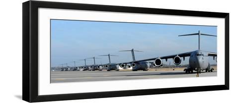Formation of U.S. Air Force C-17 Globemaster III's Prepare for Departure-Stocktrek Images-Framed Art Print