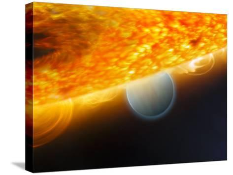 Artist's Impression of a Jupiter-Size Extrasolar Planet Being Eclipsed by its Parent Star-Stocktrek Images-Stretched Canvas Print