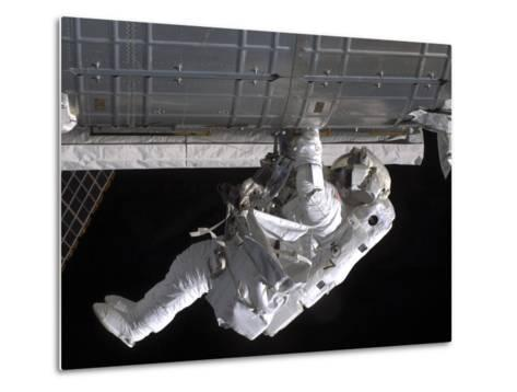 Astronaut Participates in Extravehicular Activity on the International Space Station-Stocktrek Images-Metal Print