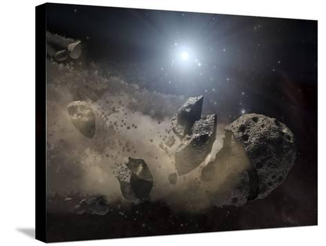 White Dwarf Star Surrounded by a Disintegrating Asteroid-Stocktrek Images-Stretched Canvas Print
