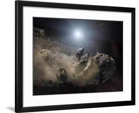 White Dwarf Star Surrounded by a Disintegrating Asteroid-Stocktrek Images-Framed Art Print