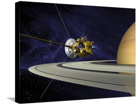 Artists Concept of Cassini During the Saturn Orbit Insertion Maneuver-Stocktrek Images-Stretched Canvas Print