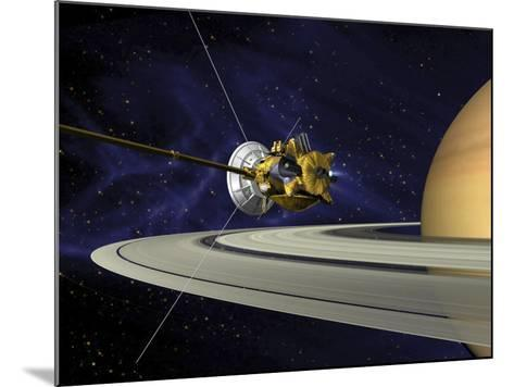 Artists Concept of Cassini During the Saturn Orbit Insertion Maneuver-Stocktrek Images-Mounted Photographic Print
