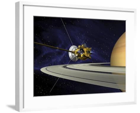 Artists Concept of Cassini During the Saturn Orbit Insertion Maneuver-Stocktrek Images-Framed Art Print
