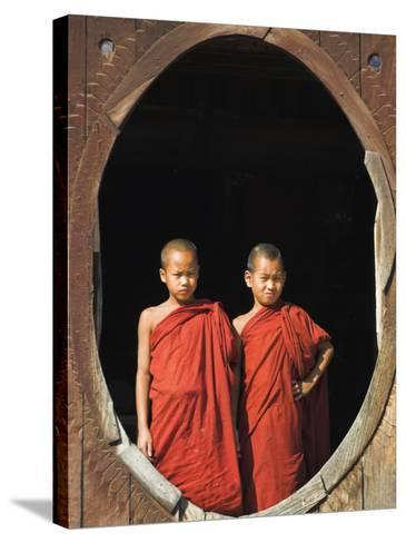 Monks, Shwe Yaunghwe Kyaung Monastery, Inle Lake, Shan State, Myanmar-Jane Sweeney-Stretched Canvas Print
