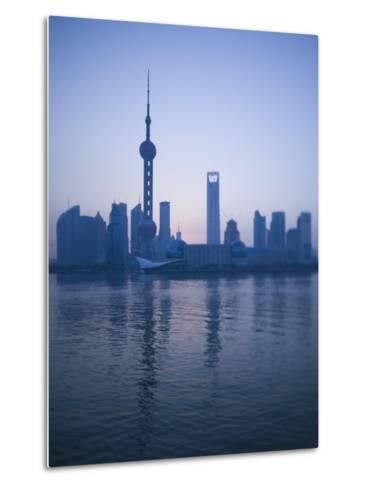 Pudong Skyline and Oriental Pearl Tower, Pudong District, Shanghai, China-Walter Bibikow-Metal Print