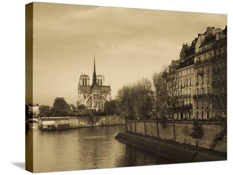 Notre Dame Cathedral and Ile St-Louis Buildings, Paris, France-Walter Bibikow-Stretched Canvas Print