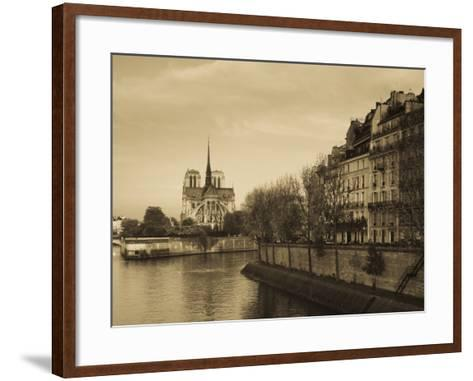 Notre Dame Cathedral and Ile St-Louis Buildings, Paris, France-Walter Bibikow-Framed Art Print
