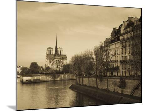 Notre Dame Cathedral and Ile St-Louis Buildings, Paris, France-Walter Bibikow-Mounted Photographic Print