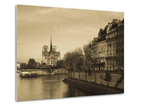 Notre Dame Cathedral and Ile St-Louis Buildings, Paris, France-Walter Bibikow-Metal Print