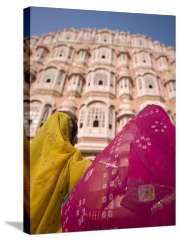 Young Women in Traditional Dress, Palace of the Winds, Jaipur, Rajasthan, India-Doug Pearson-Stretched Canvas Print