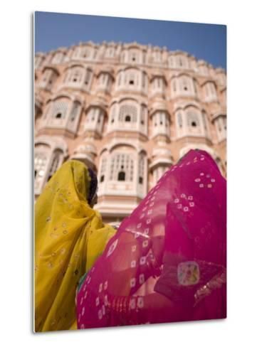 Young Women in Traditional Dress, Palace of the Winds, Jaipur, Rajasthan, India-Doug Pearson-Metal Print