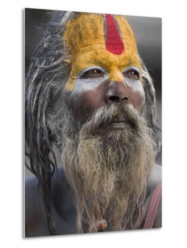 Sadhu, Shivaratri Festival, Pashupatinath Temple, Kathmandu, Nepal-Jane Sweeney-Metal Print